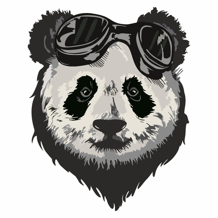 Black and white vector sketch of a Giant Pandas face