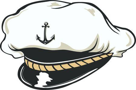 nautical captains hat, vector illustration.