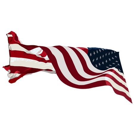 American stars and stripes flag. Illustration