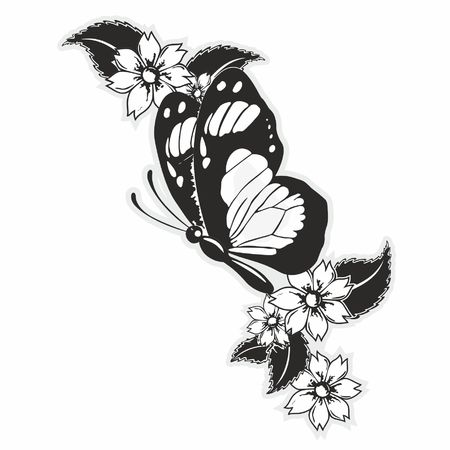 flying butterfly with flowers and leaves