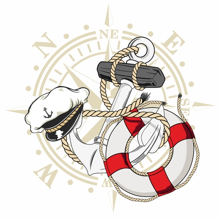nautical design of a captains hat a life buoy and an anchor