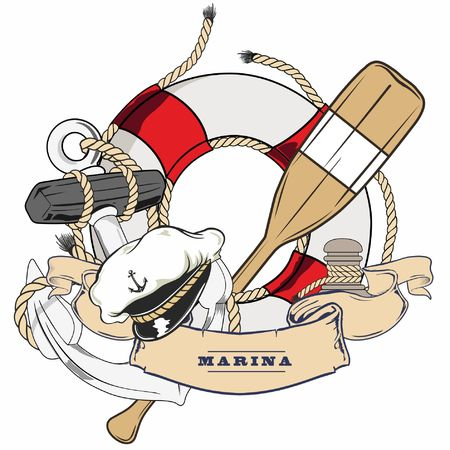 a life preserver on a background still a captains hat and an oar. Illustration
