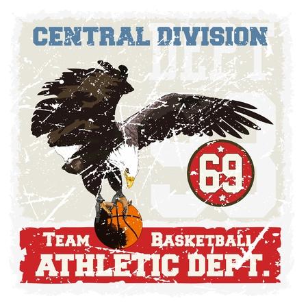 aguila real: águila real que lleva una pelota de baloncesto.