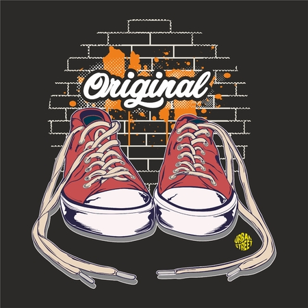 Original sneakers with a brick background.