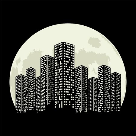Panorama of the big city at night. Sketches of skyscrapers with the background of a big moon. Black and white vector illustration.