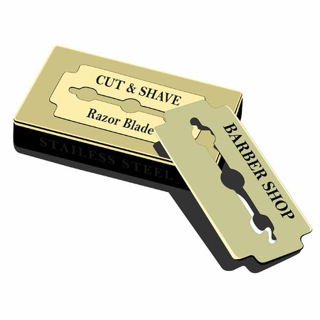 Traditional razor blade resting on the blade box.