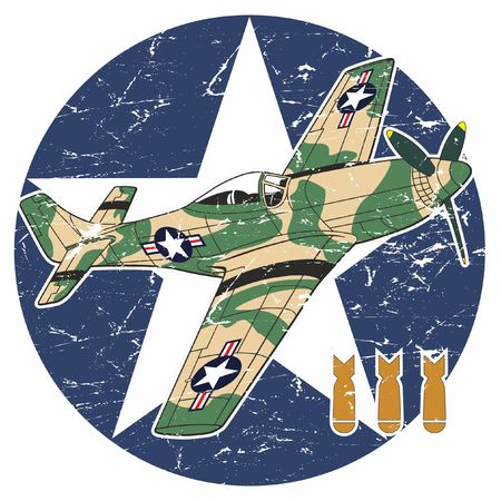 Airplane of the American War in the background of the military symbol.