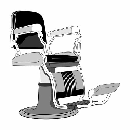 illustration of leather bar chair in old style.
