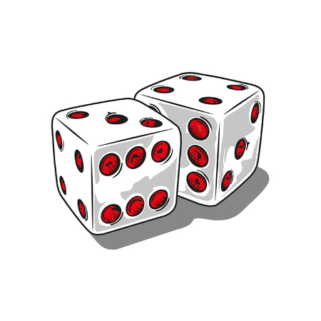illustration with two dice in 3d
