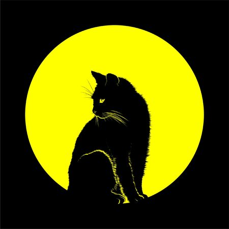 cat in silhouette against the backdrop of the moon