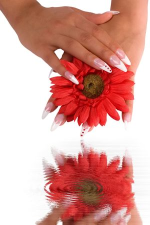 Woman hand with beautiful colored fingernails. Cosmetic and manicure photo