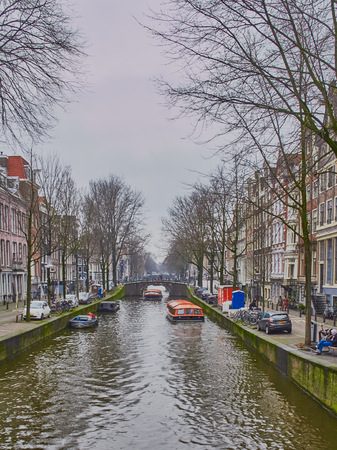 Amsterdam city scape in January with canals