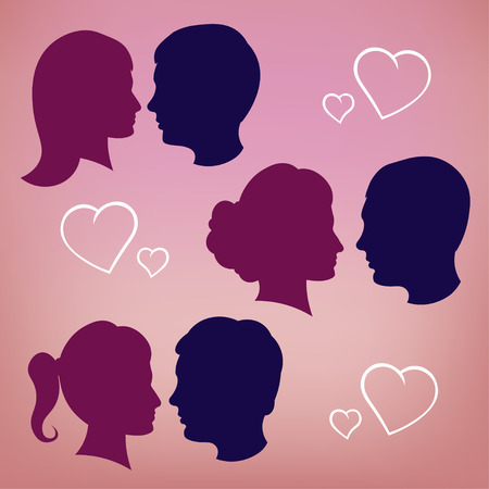Silhouettes of lovers. Pink fon. girl and boy