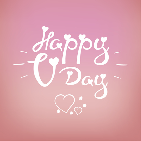a sprig: Vector Calligraphic phrase for your design: Happy V-Day. Graphic illustrations for posters or postcards.