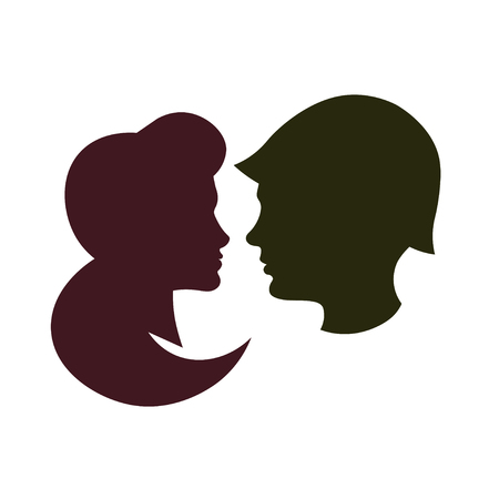 Silhouette soldier and girl. Vector Illustration