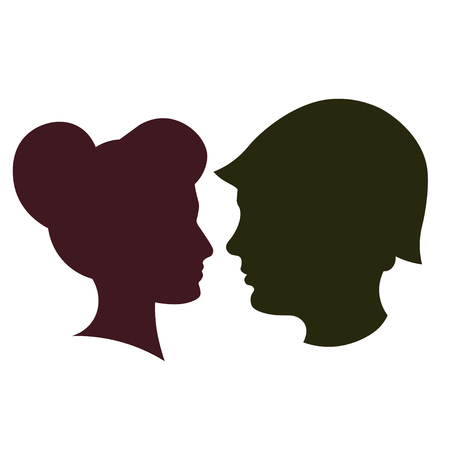 Silhouette of peace and love versus war and anger. Soldier and girl. Vector Illustration
