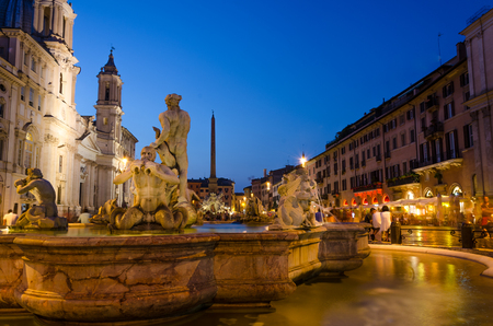 navona: Piazza Navona by night, after sunset