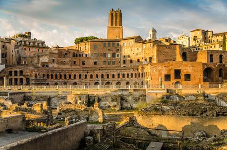 Trajan forum and market panorama in Rome photo