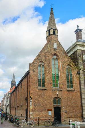 14th: Antigua capilla holandesa de Delft, Sint Hippolytuskapel construido en el siglo 14, los Pa�ses Bajos Editorial