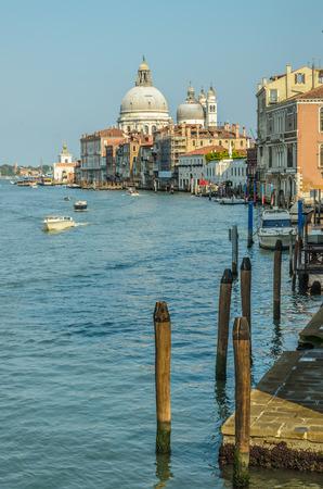 Basilica di Santa Maria della Salute, big church in Venice on Grand Canal, Italy, as seen from the bridge