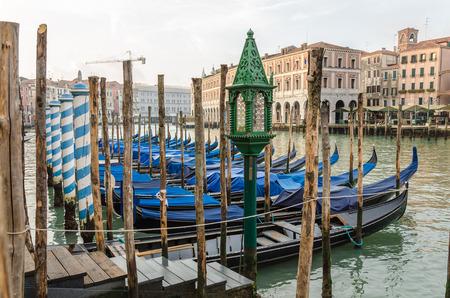 Venice blue gondolas at sunrise, Italy, Grand Canal