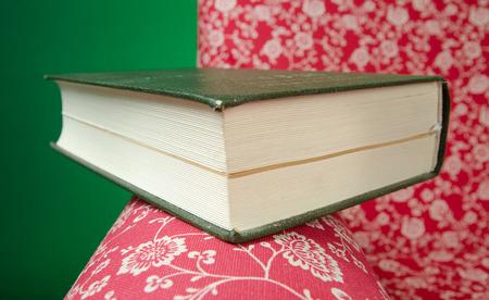 Le livre fermé sur le repos rouge de fauteuil gauche après lecture, avec le fond vert. Banque d'images - 85549220
