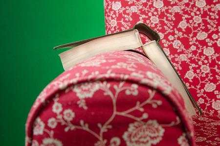 Livre sur le repos du fauteuil rouge à gauche après la lecture, avec un fond vert. Banque d'images - 85630905