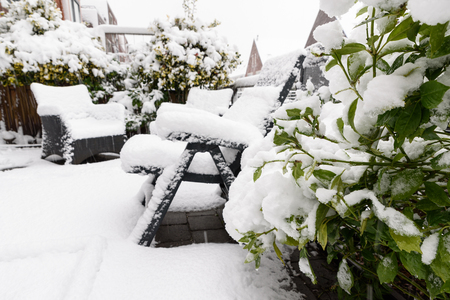 Backyard, green garden plant under snow with furniture in backdround Banque d'images - 95312768