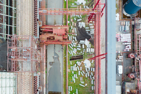 Aerial drone shot of Zollverein big old abandoned industrial complex in Essen, Germany