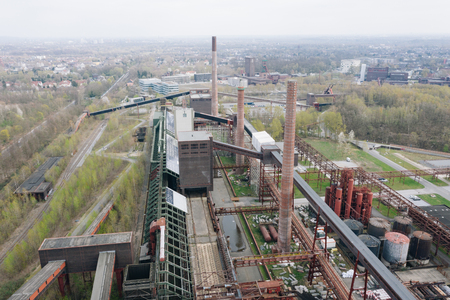Aerial drone view of Zollverein big old abandoned industrial complex in Essen, Germany