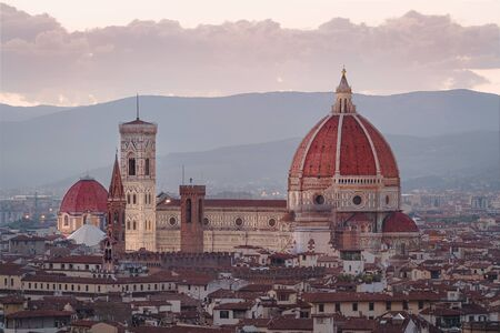 Aerial view on heart of Florence city and the cathedral of Santa Maria del Fiore ( Cathedral of Saint Mary of the Flower ) at Florence, Italy