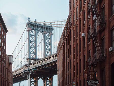 View to Manhattan bridge from Brooklyn street