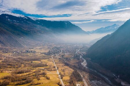 The village Morgex in between big mountains, Aosta Valley at the time of corona virus outbreak, northern Italy