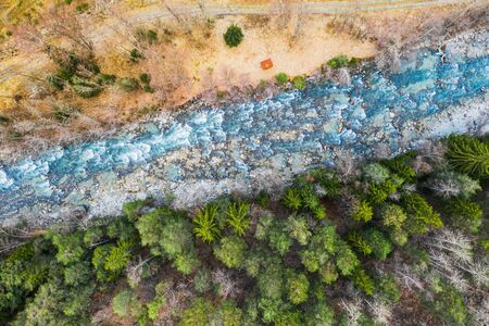 Aerial view of pine tree woods and a fast stream in a mountain, drone shoot directly under, Aosta valley northern north Italy.