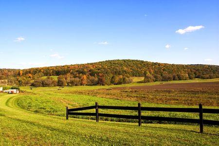 farm field under beautiful blue autumn sky Stock Photo