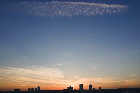 New Jersey skyline at sunset.