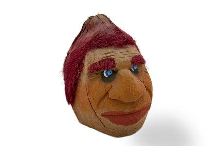 Fanny face made from a coconut and hand painted.