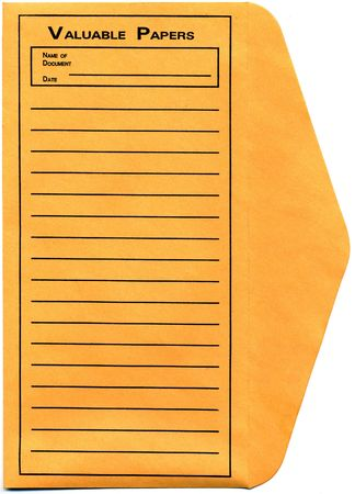 Vintage yellow envelope to store the valuable papers