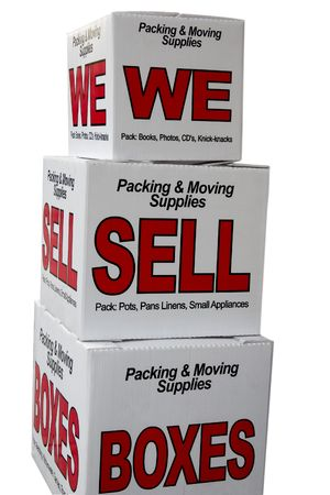 sell: We sell boxes advertisement isolated on white background with path