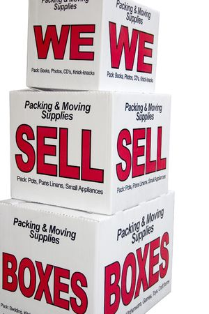 sell: We sell boxes advertisement for moving company Stock Photo