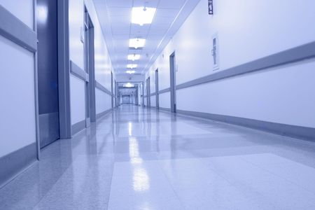 hospital corridor: Bluish hospital corridor during the night - empty and quiet