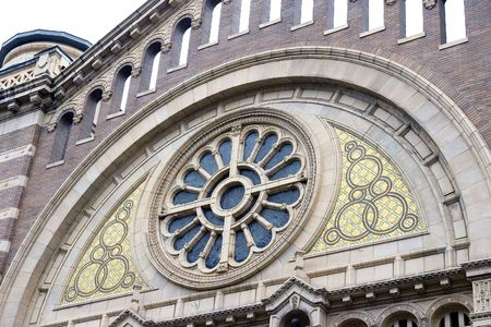 Close up of church facade with nice architectural details