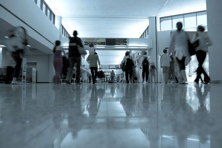Departure area of airport with people moving to the gates Stock Photo - 869108