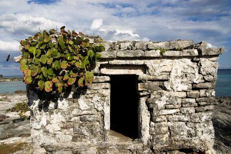 Ancient Mayan fort on the coast of Riviera Maya, Mexico. Stock Photo