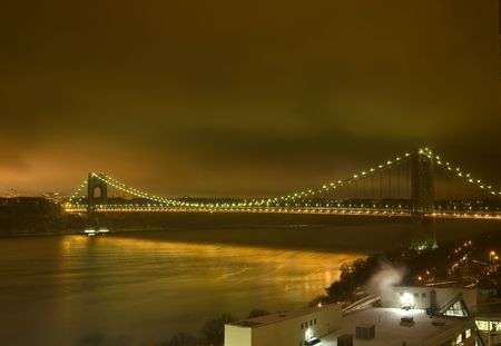 George Washington Bridge at night with light Stock Photo