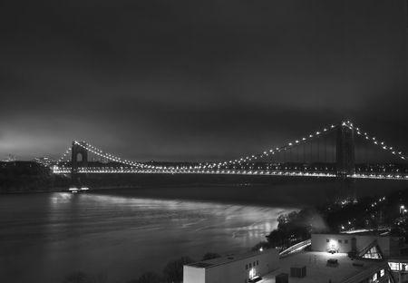 George Washington Bridge at night with light Stock Photo