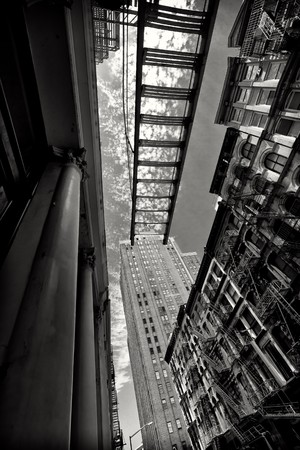 Manhattan fire escapes. Black and white. photo