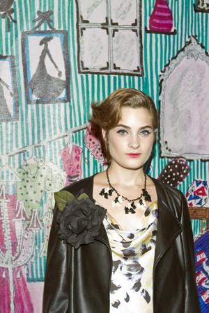 NEW YORK - SEPTEMBER 16: A model presents dress for Rebecca Moses
