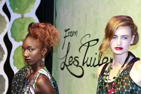 NEW YORK - SEPTEMBER 16: Models present dresses for Rebecca Moses  Editorial