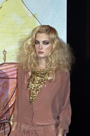 NEW YORK - SEPTEMBER 16: Model presents dress for Rebecca Moses  Editorial